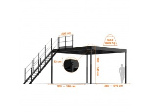 TL 30 Mezzanine with L long straight stairs